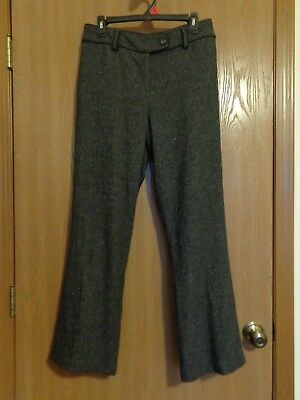 TRIBAL Size 8 Charcoal Gray pants wool blend lined with accented waistband