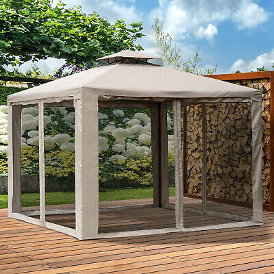 Outsunny 10' x 10' Patio Gazebo Pavilion Canopy Tent Steel w/Mosquito Netting