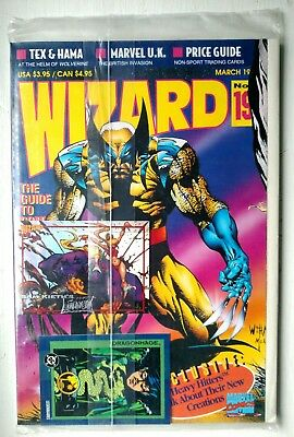 Wizard Comic Magazine #19 March 1993 New Sealed in Bag w/ Cards Wolverine Cover