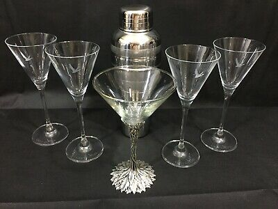 Grey Goose Etched Martini Glasses Set of 4 Plus 1 Hostess Glass & Metal Shaker