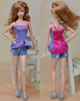 Handmade Vest Top Clothes + Jeans Pants Short For 1/6 Doll Casual Clothes Toy