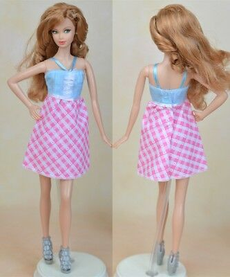 "Pink Plaid Fashion Doll Clothes A-line Casual Dress For 11.5"" Doll Short Dresses"