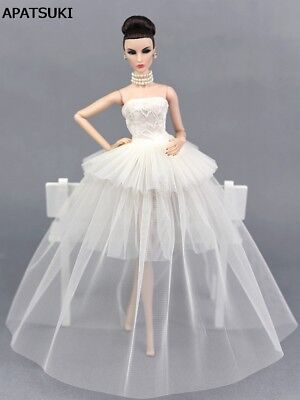 White Party Dress For 1/6 Doll Clothes Multi-layer Evening Gown Wedding Dresses