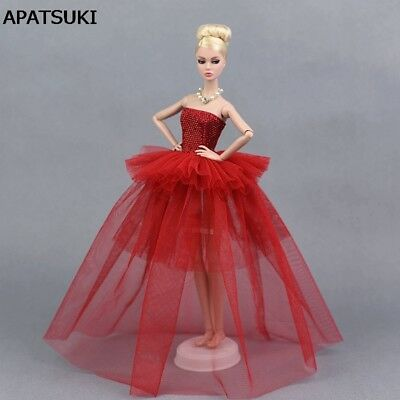 Red Party Dress For 1/6 Doll Clothes Multi-layer Evening Gown Wedding Dresses