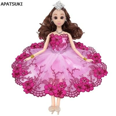 Pink Flower Leaves Crystal Dancing Costume Fashion Clothes For 1/6 Doll Dress