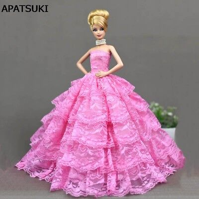 "Pink Lace Wedding Dress for 11.5"" Doll Clothes Princess Evening Party Dresses"