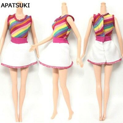 "Causal Wear Fashion Clothes For 11.5"" Dolls Rainbow Strip Short Dresses Outfits"