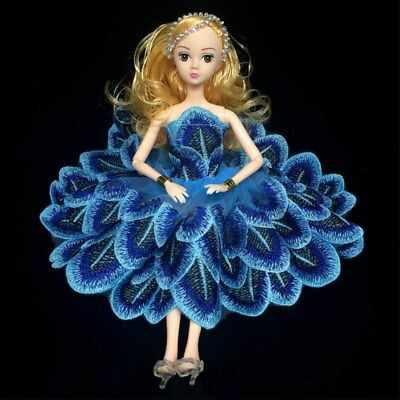 """Blue Peacock Feather Doll Clothes For 11.5"""" Doll Dress Party Dress Princess Gown"""