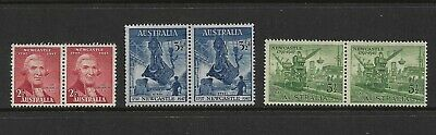 AUSTRALIA 1947 150th Anniv City of Newcastle, mint pairs, set of 3, MNG