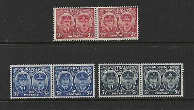 AUSTRALIA 1945 Arrival Duke & Duchess of Gloucester, mint pairs, set of 3, MNG