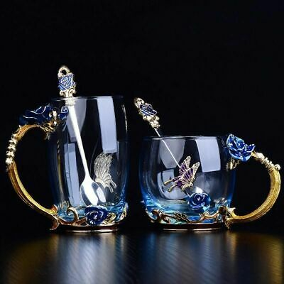 Coffee Cup Flower Tea Enamel Glass Mug For Hot And Cold Drinks Tea Cup Set
