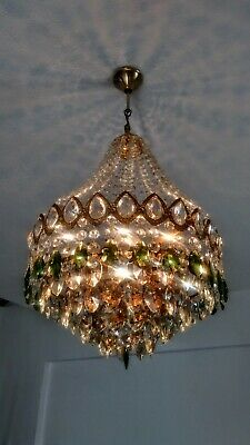 Antique Vintage Brass Green Crystal Chandelier Basket Ceiling Light Fixture Ligh