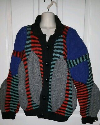 Vintage Regliss Hand Knit Cardigan Jumper Sweater Chunky Coogi Style Pure Wool