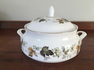 Vintage Royal Doulton Larchmont lidded vegetable dish with looped handles