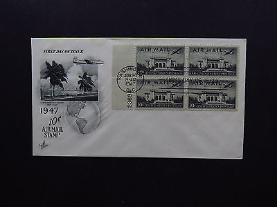 FDC US Air Mail Washington DC Pan American Clipper Panam Miami 1947 Block of 4