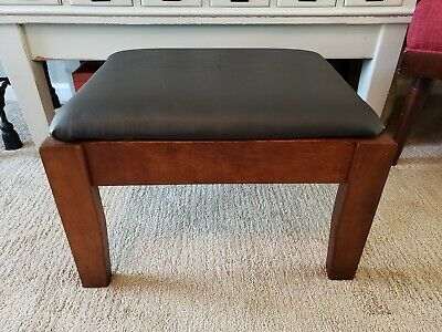 Antique  Wood Black Leather Mission Arts & Crafts Style Foot Stool Craftsman