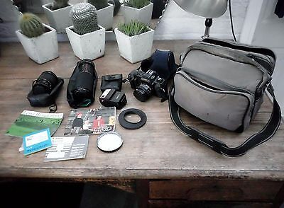 CANON Camera T50 SLR Film Camera 35m + 3 lens + Flash +Bag ETC