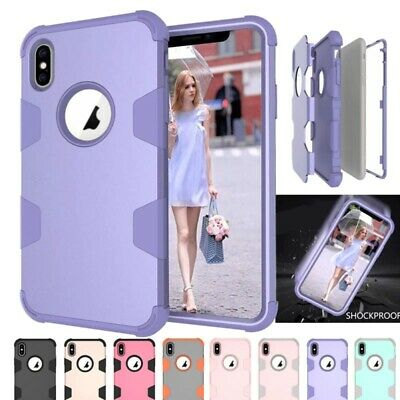 For i Phone XS Max X 8 Plus 6 Shockproof Armor Hybrid Heavy Duty Hard Case Cover