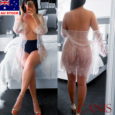 Womens Sexy Lace LIngerie Sheer Robe Kimono Long Sleeve Gown Babydoll Nightwear