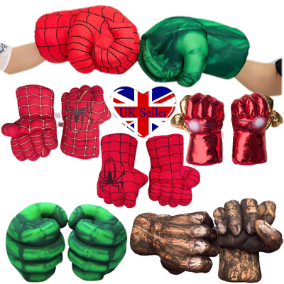 1Pair Hulk Spider-Man Plush Hands Boxing Fist Glove Cosplay Props Kids Toys Gift