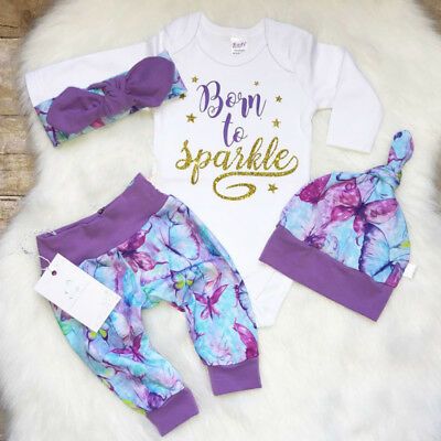 4PCS Newborn Baby Girl Outfit Long Sleeve Romper Floral Pants Legging Clothes AU