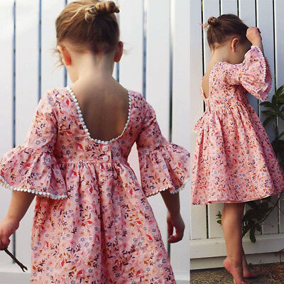 AU Toddler Kid Baby Girl Long Sleeve Floral Party Princess Boho Pageant Dress