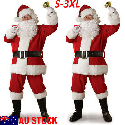 5PCS Christmas Santa Claus Costume Fancy Dress Adult Suits Cosplay Outfits AU