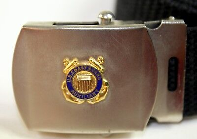 VTG US Coast Guard Auxiliary Insignia Belt Buckle with Belt Silver & Brass - 32""