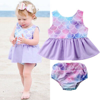 AU Summer Toddler Baby Kids Girls Mermaid Tops Dress Shorts Outfits Clothes