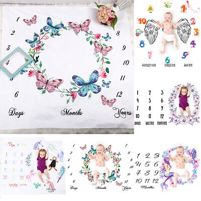 Cute Baby Girl Boy Floral Cotton Blanket Milestone Photography Props Shoots AU