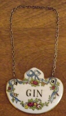 Vtg GIN Crown Staffordshire Liquor Bottle Decanter Collar Hang Tag Bone China