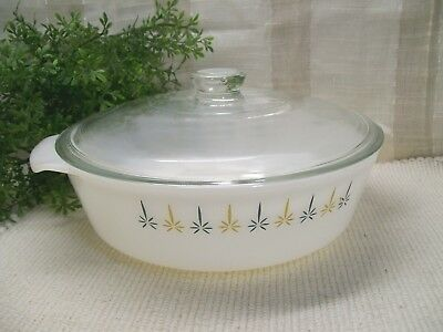 FIRE KING 2 Qt CANDLE GLOW Blue Gold Decor Covered Casserole Anchor Hocking 438