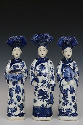 Chinese Beautiful Blue and White Porcelain Three Queen Statues