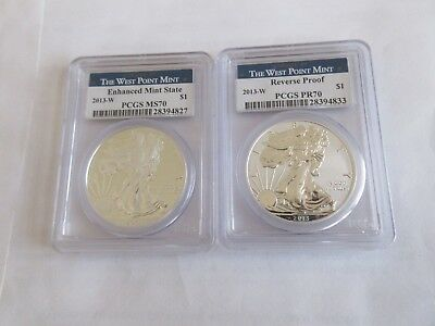 2013 W American Eagle Silver Dollar (2) Two Coin Set. PCGS  PR70/MS70