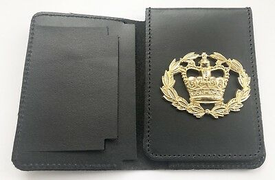Leather Police Style Warrant Card Wallet Holder With Attached HM Crest Badge.