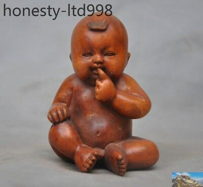Rare Old China Boxwood wood Hand-carved nude Little cute Child lucky statue