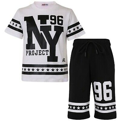 Kids Boys Girls T Shirt Shorts Set 100% Cotton NY New York Top Short Age 5-13 Yr
