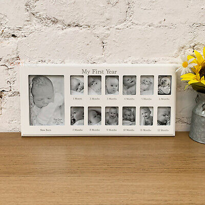 Natural Multi Hanging First Year Baby Picture Collage Home Display Photo Frame