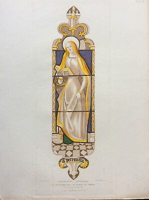 Winchester Cathedral Stained Glass, St Petronella, O Carter Le Keux, orig c1845
