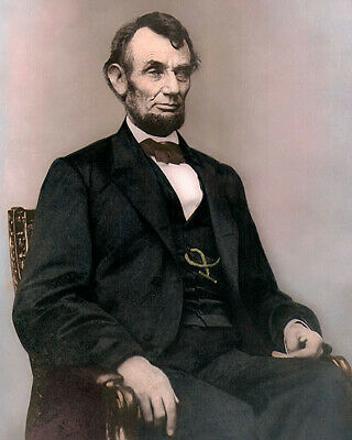 """PRESIDENT ABRAHAM LINCOLN 1864 CIVIL WAR 8x10"""" HAND COLOR TINTED PHOTOGRAPH"""