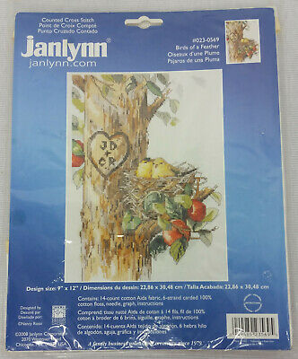 "Janlynn Birds Of a Feather Completed Counted Cross Stitch 023-0569 9"" x 12"""