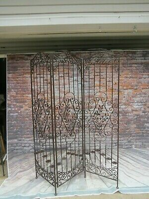 Vintage Wrought/Cast Iron Room Divider Garden Screen w/ Pillar Candle Holders