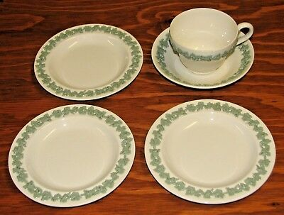 3 Wedgwood Embossed Queensware Celadon Green Cream Bread Plates + Cup & Saucer