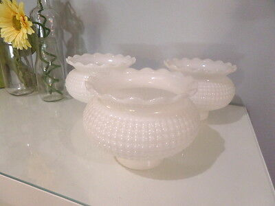 1-3 Vtg 1950-60 White Hobnail Hurricane Milk Glass Shades Globes Ruffle Top