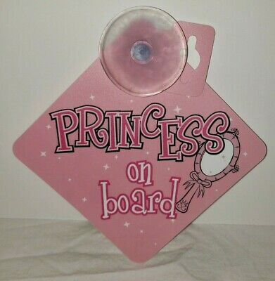 CHILD IN CAR SUCTION CUP SIGN FOR CAR WINDOW Princess on board pink girl reborn