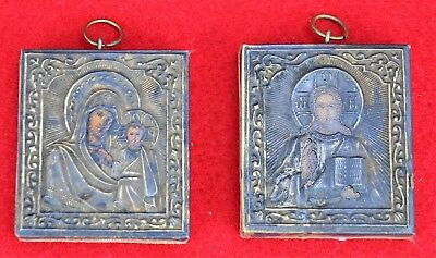 Pair of Russian Orthodox miniature icons with riza. Virgin Mary a (BI#MK/180921)