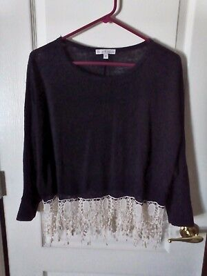 MOA MOA Black L/S Sweater with Ivory Crochet Fringe Trim - Medium