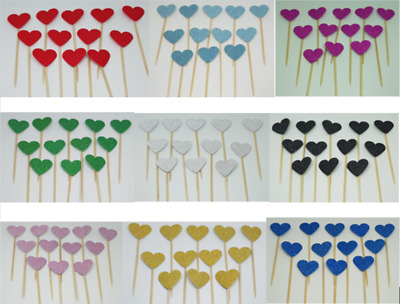 12 Glitter Heart Cupcake Toppers,  Party Decoration, Cup cake topper Food Flags
