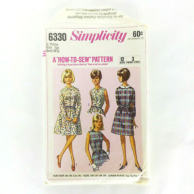 1960s SIMPLICITY 6330 Vintage Pattern Dress W Two Skirts Size 5 Junior Petite