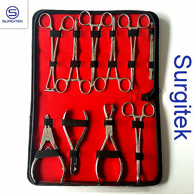 Kit 10 Body Piercing Tools Art Forceps Clamps Tongue Belly Septum Nose Lip Ear